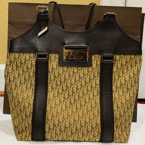 Authentic CHRISTIAN DIOR Vintage Tote Bag Brown